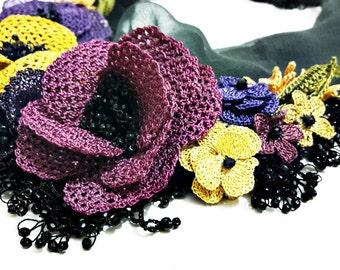Rose Garden - Turkish Oya Lace Silk Chiffon Necklace with Crochet