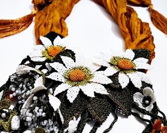 Daisy Scarf - Turkish Oya Lace Silk Crochet with Flowers