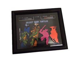 TMNT Ninja Turtles Shadow Box - Turtles in Time 8-Bit Shadow Box - SNES Classic Video Game 8x10 Frame - Retro Gaming Geek Art