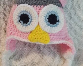 Pink Owl Crochet Hat 0-3 month