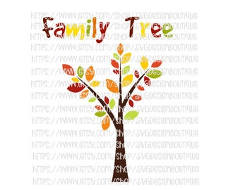 Fall SVG, Autumn Svg, Family Tree Cutting File, Family Tree SVg, dxf, Font Svg, Svg Designs, Tree Svg, Tree Clipart, Family Svg