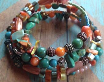 Layered Turquoise and Melon Southwest Boho Bracelet, Stone Boho Bracelet, Southwest Bracelet, Jewelry. Bracelet