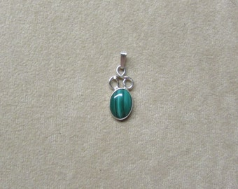 Gorgeous Malachite STERLING silver pendant.