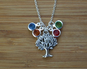 Family Tree Necklace, Birthstone Necklace, Personalized Jewelry, Mother Grand Mother Jewelry