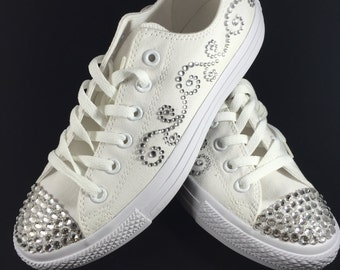Custom Blinged Out Converse- Wedding- Front and Side Design