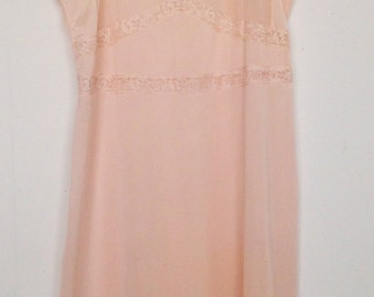 Vintage 50s shell pink sheer + lace slip