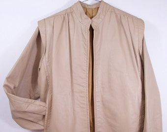 raddest vintage beige genuine leather minimalist style jacket men's s women's s, m, l, vintage jacket