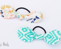 Set of 2 Hair Bows, Hair Ties, Aztec and Floral Hair Bow, hair elastics, hair accessories, fabric bows, ponytail tie,  UK seller