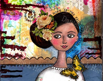 Mixed Media Collage Art Giclee Print - Hopeful Soul