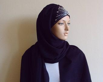 Stylish black Turban Hijab, ready to wear hijab, chapel scarf,Pret A Porter Hijab, BLACK beaded hijab,embroidered turban, abaya scarf, burqa