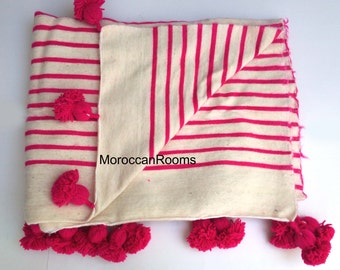 moroccan wool blanket pink and white stripes