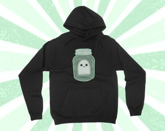 Super cute Ghost in a jar - Kawaii Ghost Hoodie - Rick and Morty - Cute Boo - Halloween Long Sleeve - Spooky - Ghost in a bottle - Funny