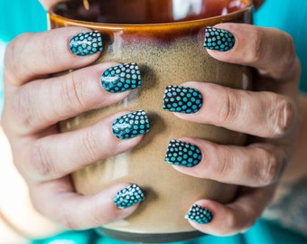 Square Black Acrylic Press on Nails * White, Blue & Green Dot Design *  Coffin/Oval * Matte/Glossy * Glue on Nails * Ombre Color Gradient