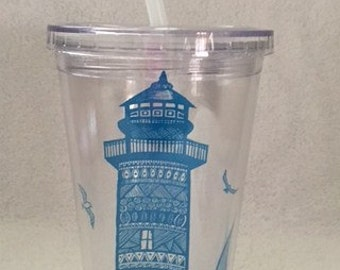 Lighthouse 16 oz Tumbler, Beach Gifts, Commuter Cups, Nautical Gifts, Lighthouse Lovers, Picnic Accessories, On the Road Cups