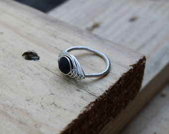 Black agate silver wire wrapped ring