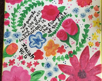 Bible Verse and Flowers Painting
