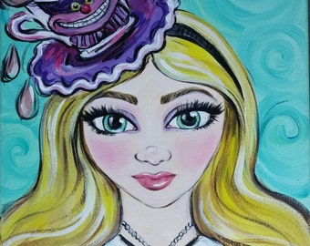 Alice and Cheshire Cat Painting
