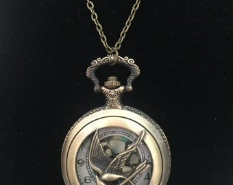 Hunger Games Mockingjay watch necklace FREE SHIPPING