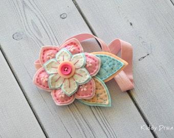Baby pink headband - flower headband - felted headband - kids - hair accessories - children - baby hair accessories - kids fashion - gift