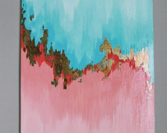 SOLD! Acrylic Abstract Art / Coral, Teal & Gold Leaf