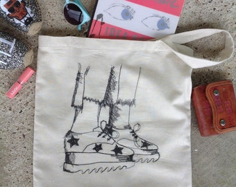 Freehand machine embroidery linen tote bag