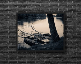 Sepia Photo - Lake Photography - Lake Print - Boats Print - Boats Photography - Warm Colors Print - Sepia Wall Decor - Lake Landscape Photo