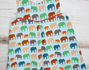 Toddler dress with elephants - ready to ship - size 2 - size 12 mos