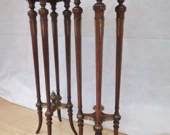 Pair of Antique French Mahogany Torchieres / Stands with Ormolu Mounts