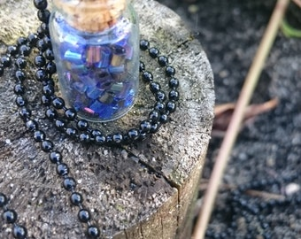 Bottle Necklace - Dark blue with black chain