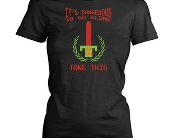 Legend of Zelda Women Retro T-Shirt It's Dangerous to go alone, take this