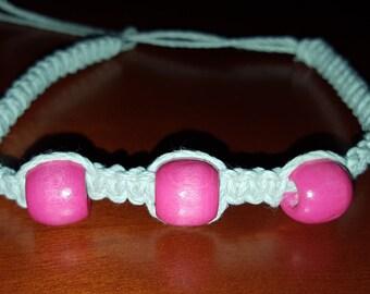 Hemp Anklet, Hemp Jewelry, Pink Hemp Bracelet, Beaded Ankle Bracelet