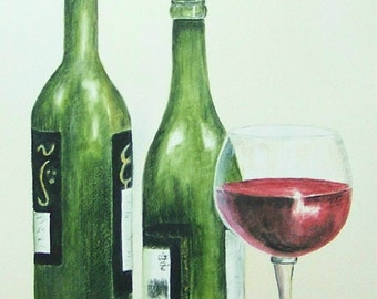 Glass of Red Wine, Realistic watercolor still life painting