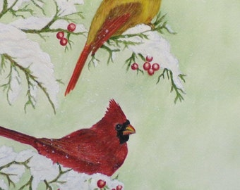 Snowy Cardinal Pair, Realistic watercolor painting of male and female cardinals