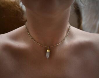 Quartz Bullet Choker Necklace