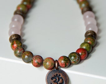 Spirituality and Love, Unakite, Rose Quartz, Yoga OM Necklace,Gemstone mala necklace,Buddha Necklace,Zen Boho Mala, Meditation Healing
