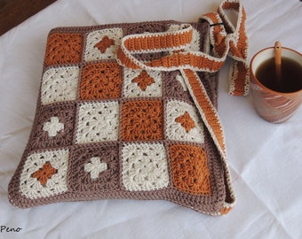 Crochet bag -  Grany-square-style, crochet handmade bag, handmade tote bag, crochet shoulder bag, tote bag, gift for girlfrend, Grany square