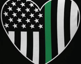 Green line heart