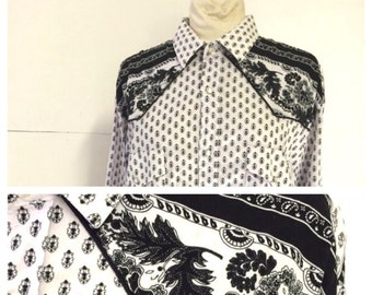 Provencal XL Cowboy Cowgirl Shirt in black and white