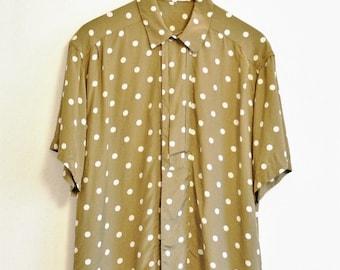 Vintage shirt olive green polka dot oversized 1980s Size 12 Medium