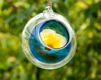 Terrarium Double Bubble Hand Blown Art Glass Hanging Sitting Globe Ball Candle Holder Aqua Blue Clear