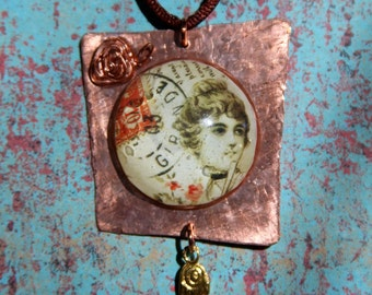 Necklace:Resin and Copper Lady