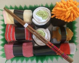 Unique baby shower sushi platter diaper cake