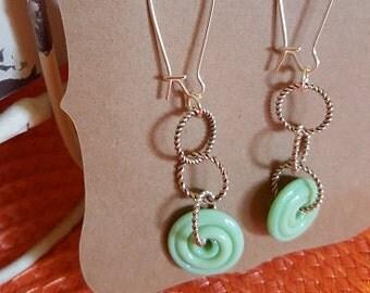 HandCrafted Earrings - mint swirl