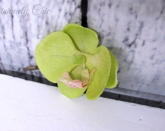 Green orchid hair accessories, Wedding hair pins, Prom hair accessory, Orchid hair pins, Green bridal accessories,