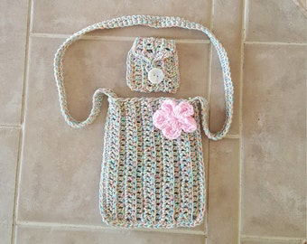 Girl's crochet purse with matching coin purse