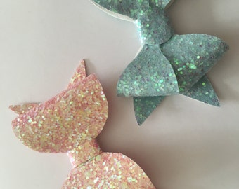 Medium pink glitter bow and iced blue butterfly glitter bow