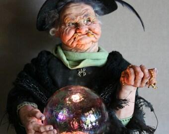 GRUB A DUB DUB witch art doll is and origianl polymer clay sculptue by Sue Menz