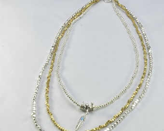 Three Level Long Feather Necklace- 0064