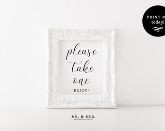 Please Take One Favors Sign, Wedding Sign, Favors Sign, Treats Sign, Wedding Printable, Reception Sign, Instant Download PDF, MAM201_06