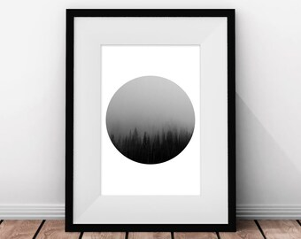 Foggy Forest, Forest Print, Circle Art, Woodland, Circle Print, Trees, Black and White, Fog, Minimalist Art, Printable Art, Multiple Sizes